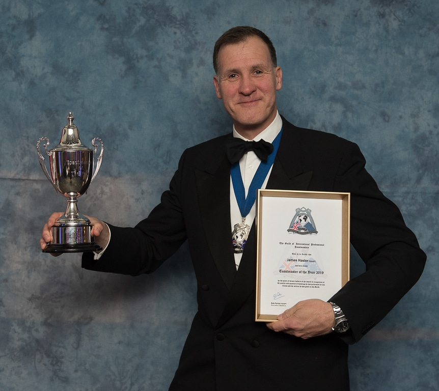 James Hasler, The Man in the Red Coat is Toastmaster of the Year 2019